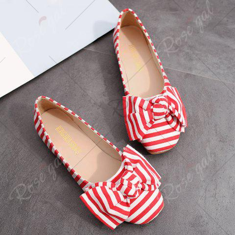 Latest Bow Striped Round Toe Flat Shoes - 37 RED AND WHITE Mobile