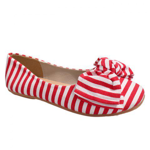 Cheap Bow Striped Round Toe Flat Shoes - 38 RED AND WHITE Mobile