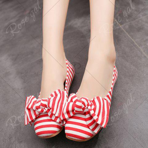 Online Bow Striped Round Toe Flat Shoes - 38 RED AND WHITE Mobile