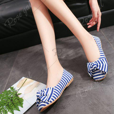 Buy Bow Striped Round Toe Flat Shoes - 39 BLUE AND WHITE Mobile