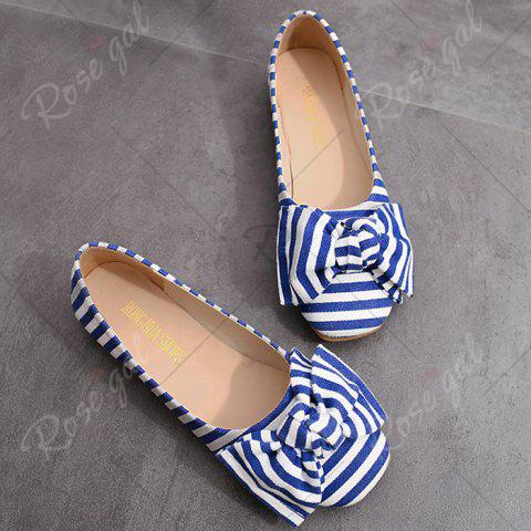 Unique Bow Striped Round Toe Flat Shoes - 39 BLUE AND WHITE Mobile