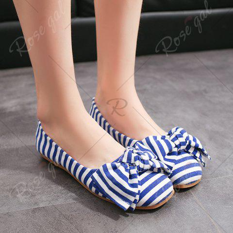 Unique Bow Striped Round Toe Flat Shoes - 38 BLUE AND WHITE Mobile