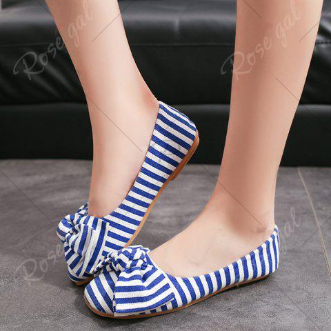 Best Bow Striped Round Toe Flat Shoes - 38 BLUE AND WHITE Mobile