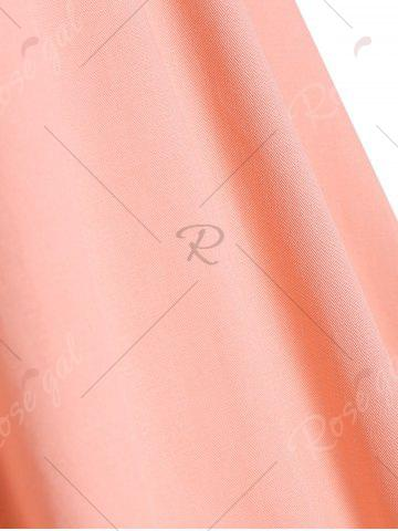Shop Buttons Short Flared Sleeve 50s Swing Dress - S ORANGEPINK Mobile