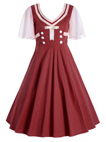Latest Buttons Short Flared Sleeve 50s Swing Dress - 2XL CLARET Mobile