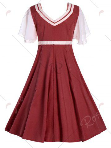 Shop Buttons Short Flared Sleeve 50s Swing Dress - 2XL CLARET Mobile