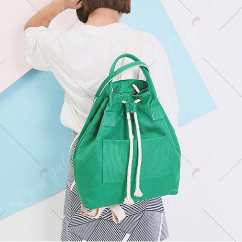 Unique Drawstring Canvas Top Handle Backpack - GREEN  Mobile