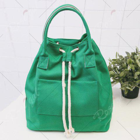 Cheap Drawstring Canvas Top Handle Backpack - GREEN  Mobile