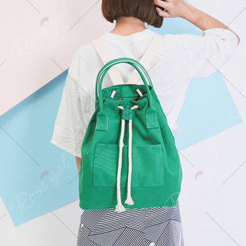 Best Drawstring Canvas Top Handle Backpack - GREEN  Mobile