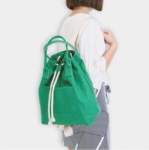 Drawstring Canvas Top Handle Backpack - Green - 38