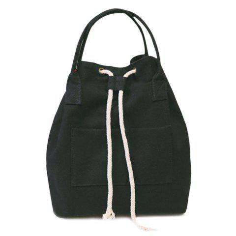 Best Drawstring Canvas Top Handle Backpack BLACK