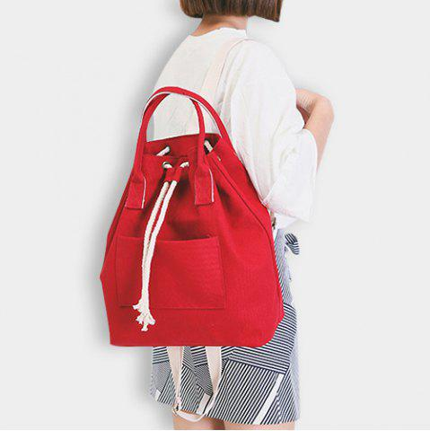 Chic Drawstring Canvas Top Handle Backpack