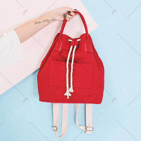 Shop Drawstring Canvas Top Handle Backpack - RED  Mobile