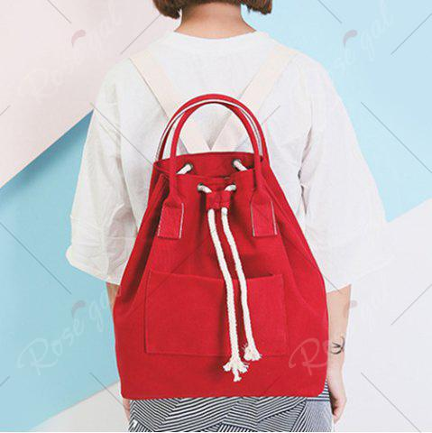 Trendy Drawstring Canvas Top Handle Backpack - RED  Mobile