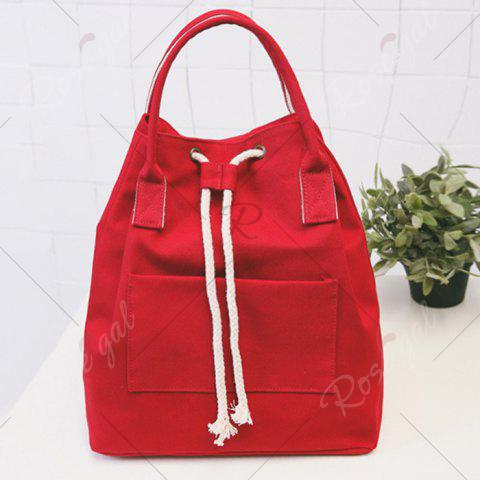 Unique Drawstring Canvas Top Handle Backpack - RED  Mobile