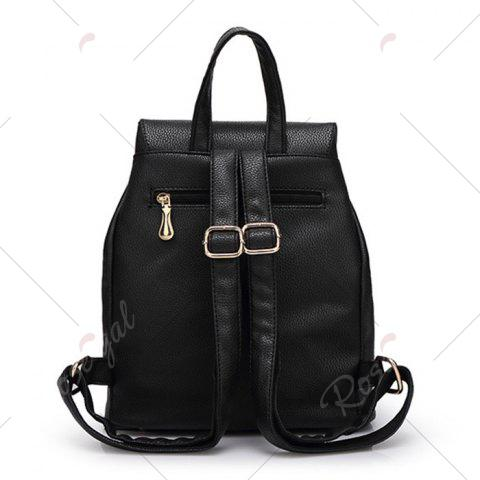 Fashion Buckles Faux Leather Backpack - BLACK  Mobile