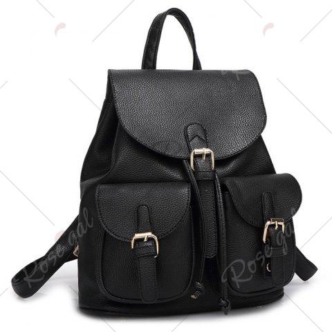 Shop Buckles Faux Leather Backpack - BLACK  Mobile