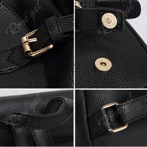 Shops Buckles Faux Leather Backpack - BLACK  Mobile