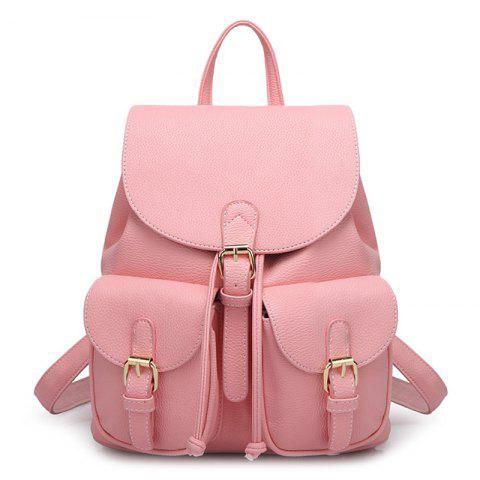 Unique Buckles Faux Leather Backpack - PINK  Mobile