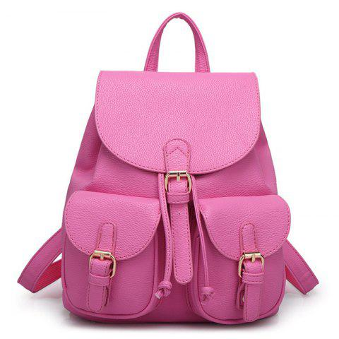 Unique Buckles Faux Leather Backpack - ROSE RED  Mobile