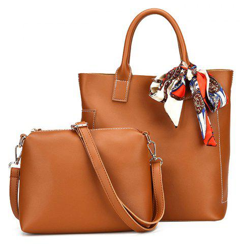 Fancy Stitching Tote Bag Set with Scarf BROWN