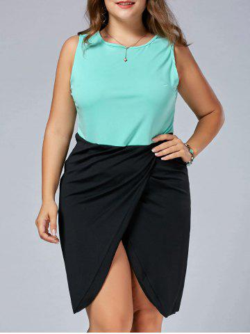 Sleeveless Front Slit Fitted Plus Size Dress - Black - 7xl