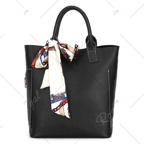 Latest Stitching Tote Bag Set with Scarf - BLACK  Mobile