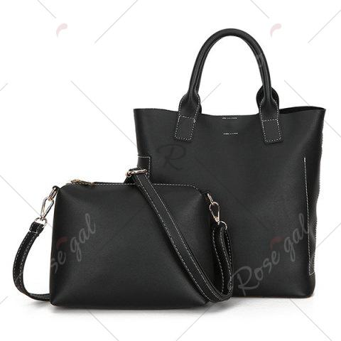 Best Stitching Tote Bag Set with Scarf - BLACK  Mobile