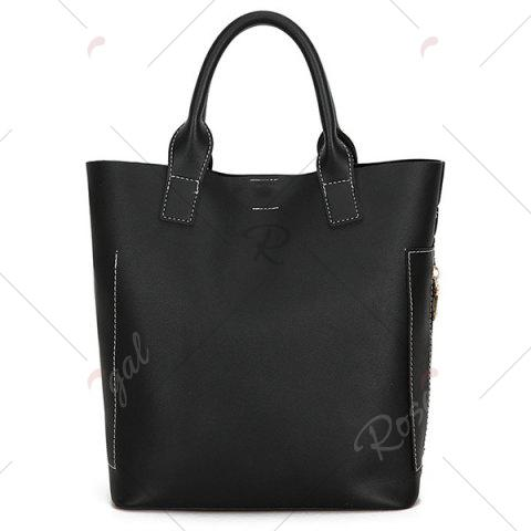 Affordable Stitching Tote Bag Set with Scarf - BLACK  Mobile