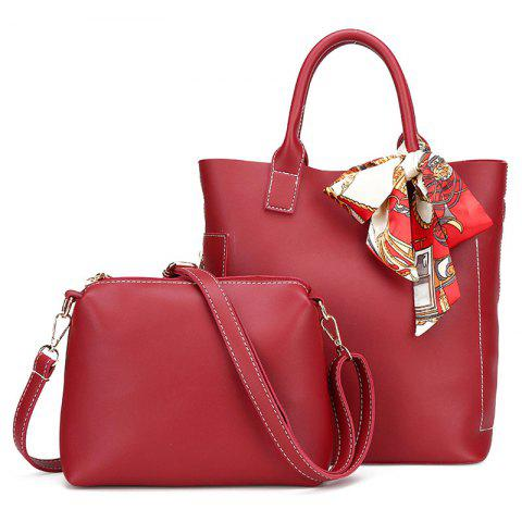 Best Stitching Tote Bag Set with Scarf RED