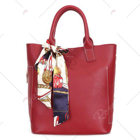 Affordable Stitching Tote Bag Set with Scarf - RED  Mobile