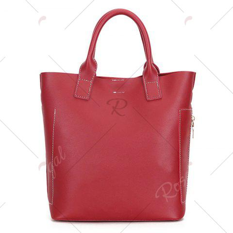 New Stitching Tote Bag Set with Scarf - RED  Mobile