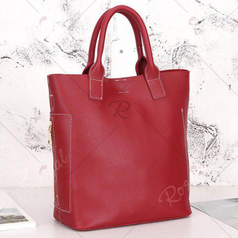 Trendy Stitching Tote Bag Set with Scarf - RED  Mobile