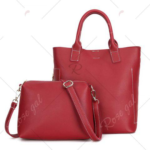 Latest Stitching Tote Bag Set with Scarf - RED  Mobile