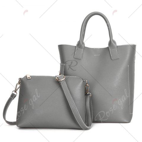 Trendy Stitching Tote Bag Set with Scarf - GRAY  Mobile
