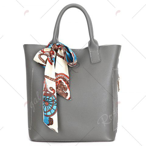 Buy Stitching Tote Bag Set with Scarf - GRAY  Mobile