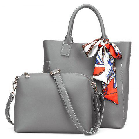 New Stitching Tote Bag Set with Scarf GRAY