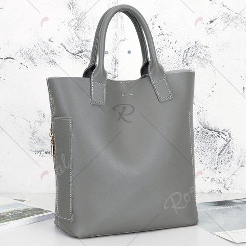 Hot Stitching Tote Bag Set with Scarf - GRAY  Mobile