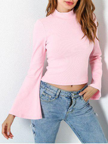 Outfits Casual Flare Sleeve Mock Neck Blouse LIGHT PINK S