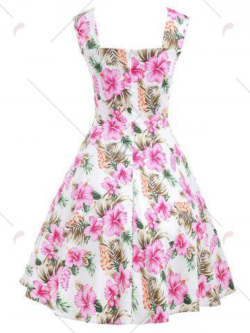 Outfits Floral Retro Swing Midi Dress - M FLORAL Mobile