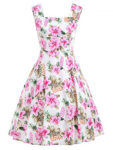 Floral Retro Swing Midi Dress - Floral - 2xl