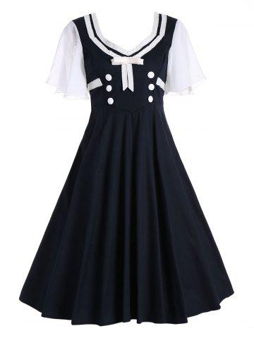 New Buttons Short Flared Sleeve 50s Swing Dress - S BLACK Mobile