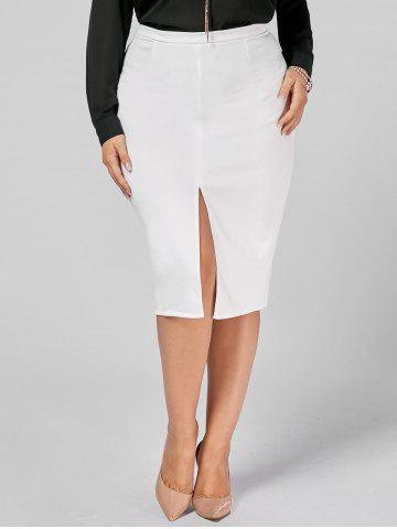 Buy Front Slit Zip Up Plus Size Pencil Skirt WHITE 3XL