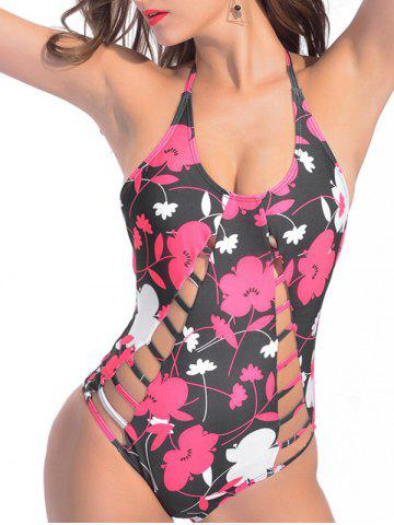 Halter Floral Strappy One Piece Swimsuit Floral M