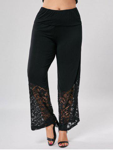 Plus Size Lace Trim Wide Leg Pants - Black - 2xl