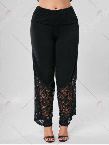 Latest Plus Size Lace Trim Wide Leg Pants - 5XL BLACK Mobile