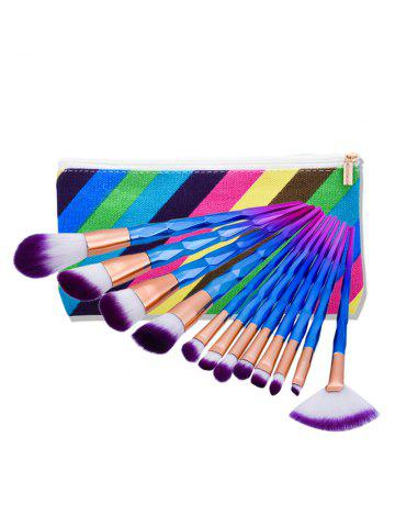 Chic Diamond Shaped Makeup Brushes Set With Stripes Bag - MULTI  Mobile