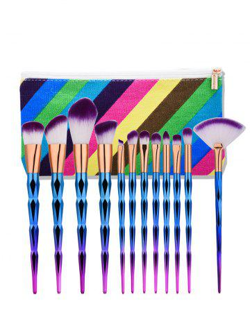 Sale Diamond Shaped Makeup Brushes Set With Stripes Bag MULTI
