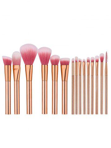 15Pcs Eye Face Makeup Brushes Set - Rose Gold