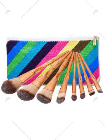 Fancy Concave Tapered Makeup Brushes Set With Stripes Bag - ROSE GOLD  Mobile